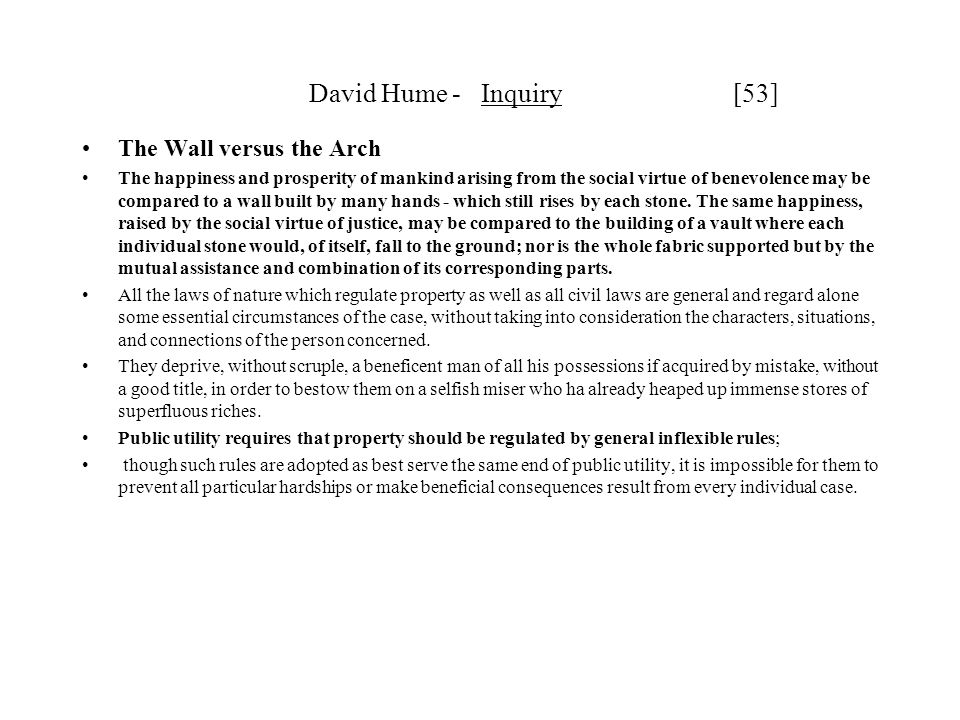David Hume - Inquiry [53] The Wall versus the Arch